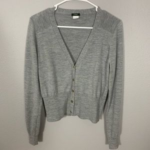 J. Crew Gray Cardigan V-Neck 5 Buttons Sweater
